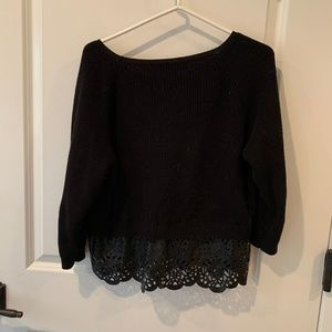 French Connection Eyelet Leather Trim Sweater M